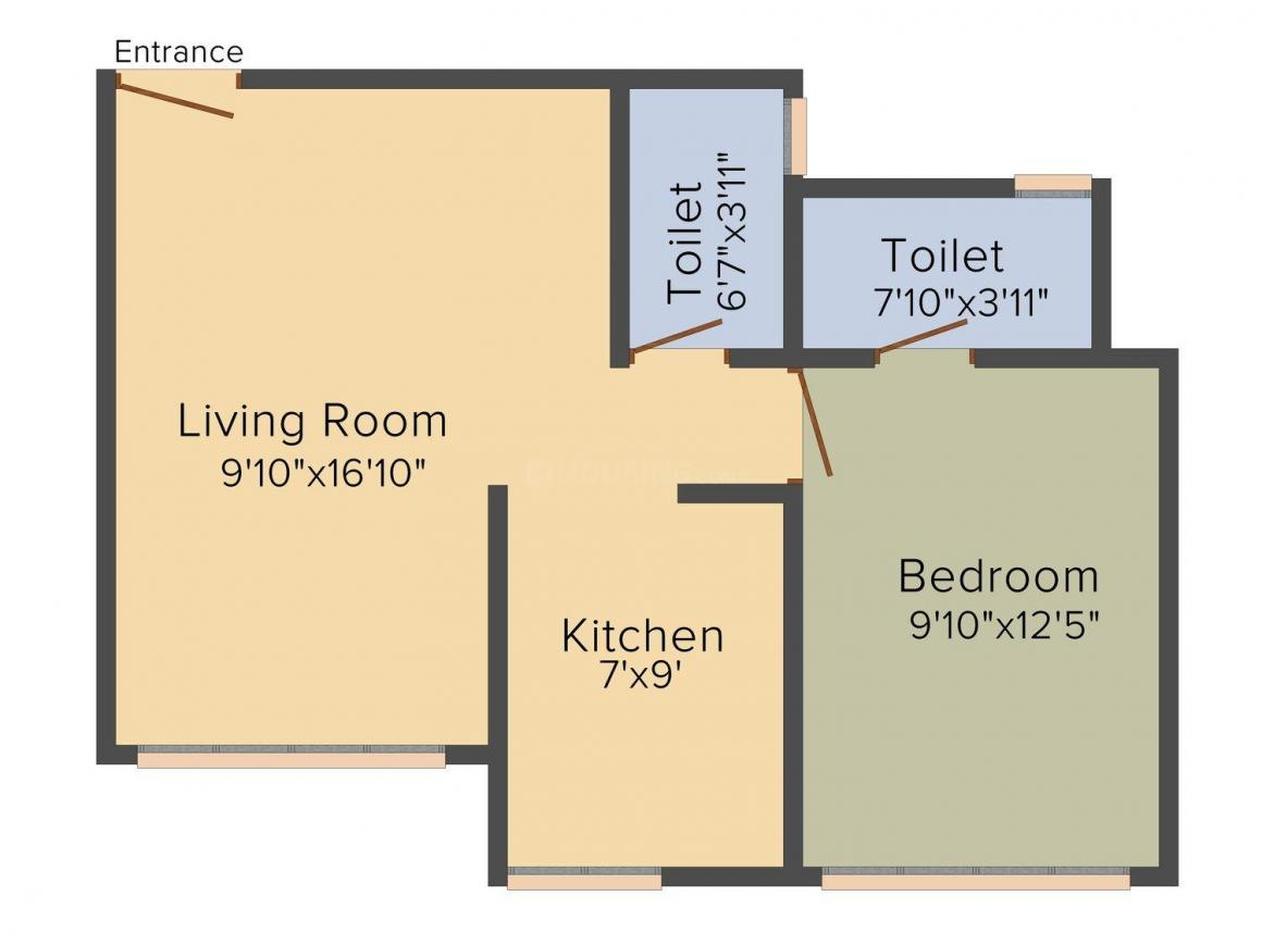 Floor Plan Image of 455.0 - 743.0 Sq.ft 1 BHK Apartment for buy in Suvidha Jewel