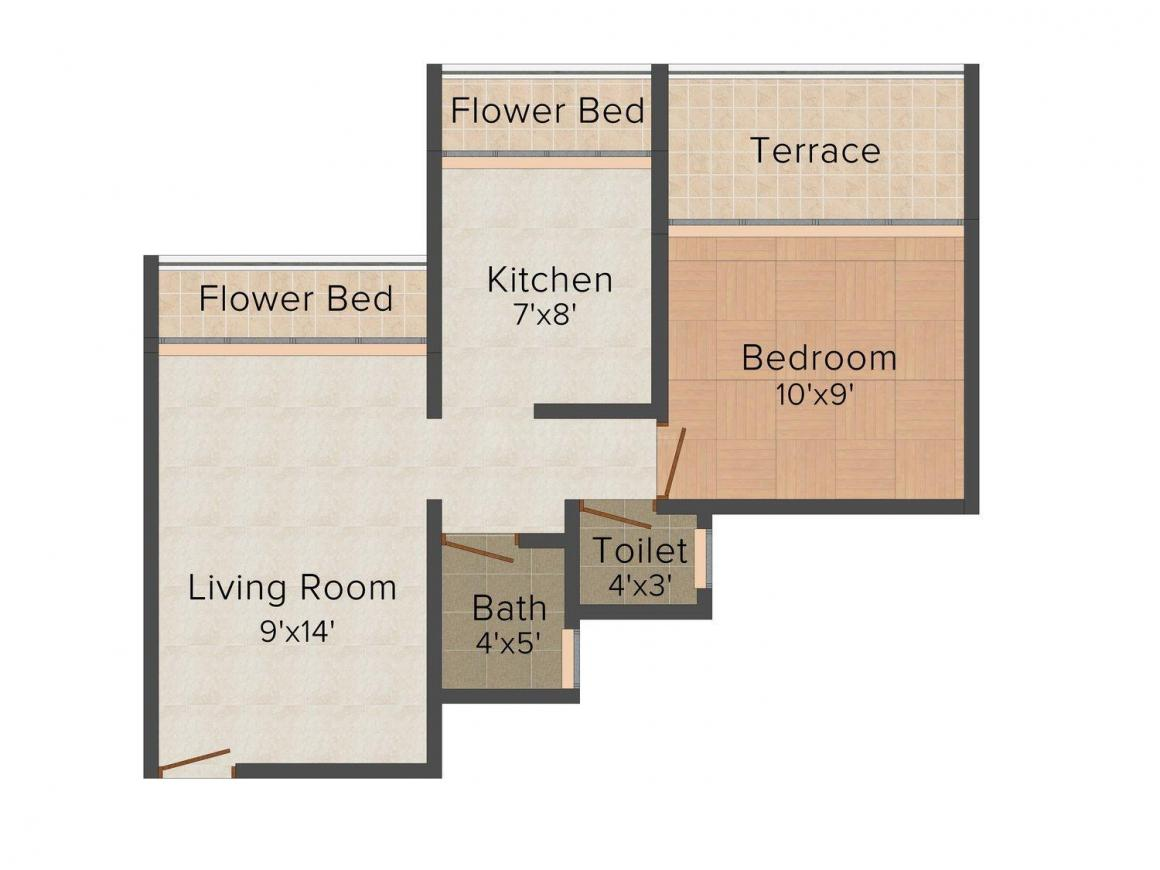 Floor Plan Image of 0 - 470.0 Sq.ft 1 BHK Apartment for buy in Platinum Sai Aura
