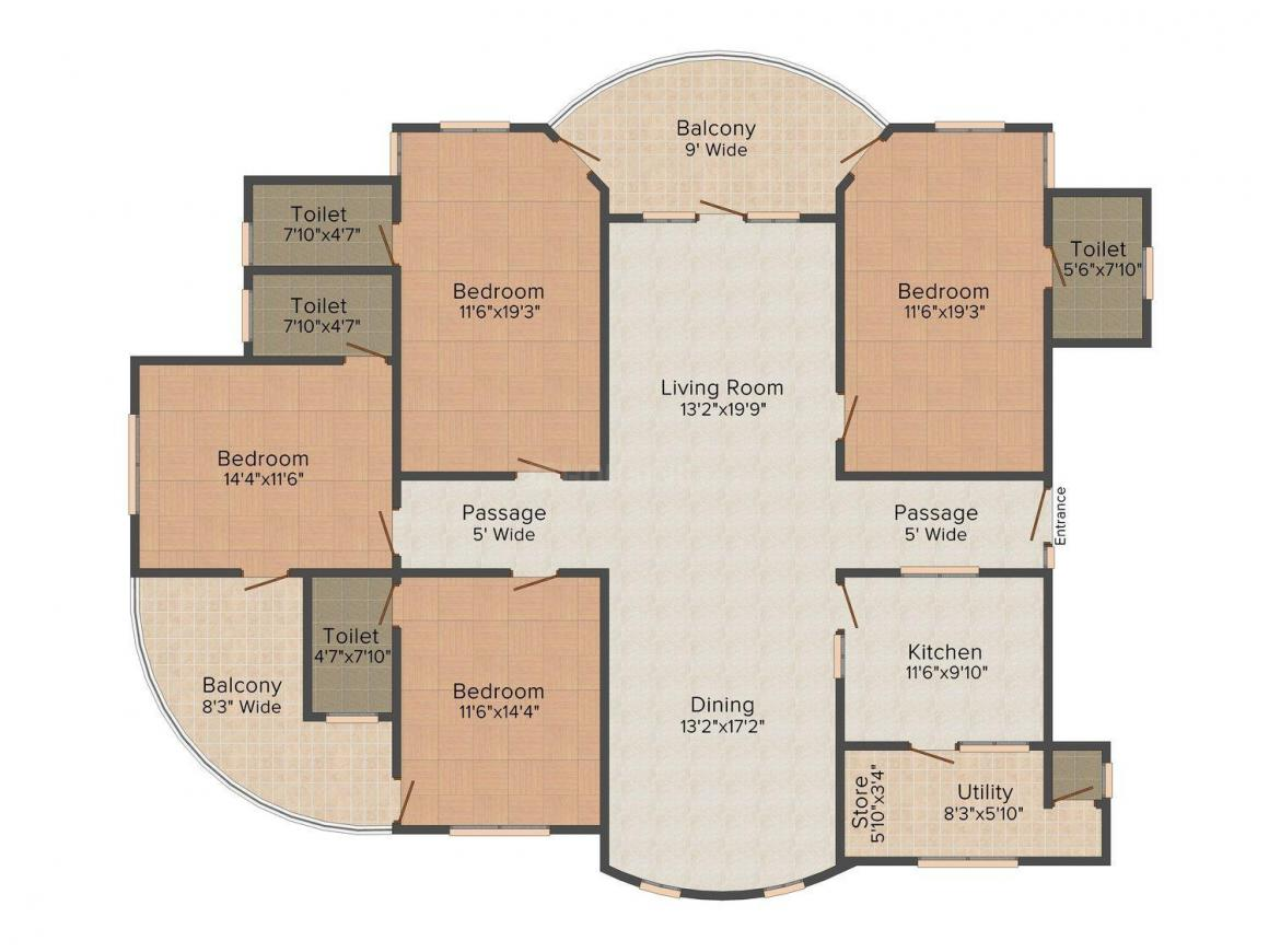 Floor Plan Image of 0 - 3217 Sq.ft 4 BHK Apartment for buy in Hriday JAS Exotica - C