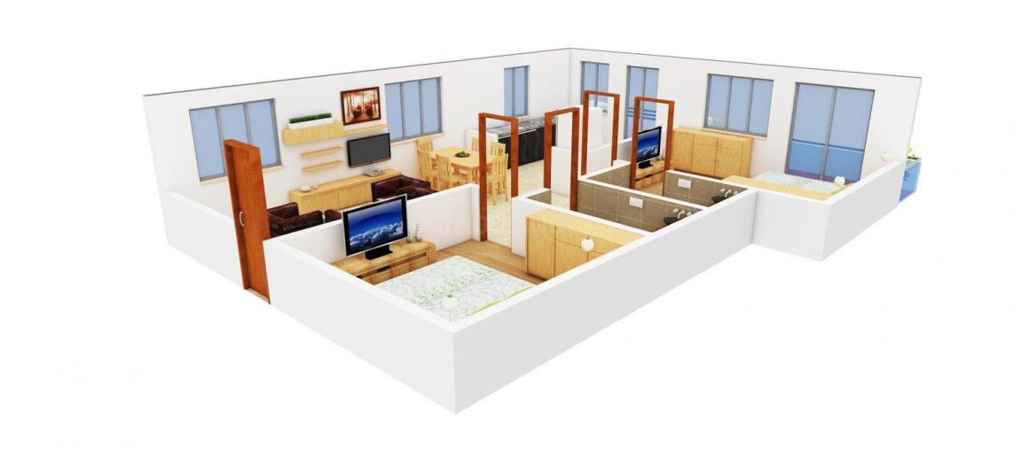 Floor Plan Image of 800.0 - 1506.0 Sq.ft 2 BHK Apartment for buy in  Tulip