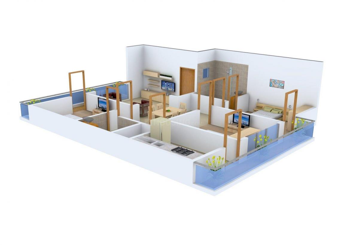Floor Plan Image of 1610.0 - 1725.0 Sq.ft 3 BHK Apartment for buy in Evergreen Homes