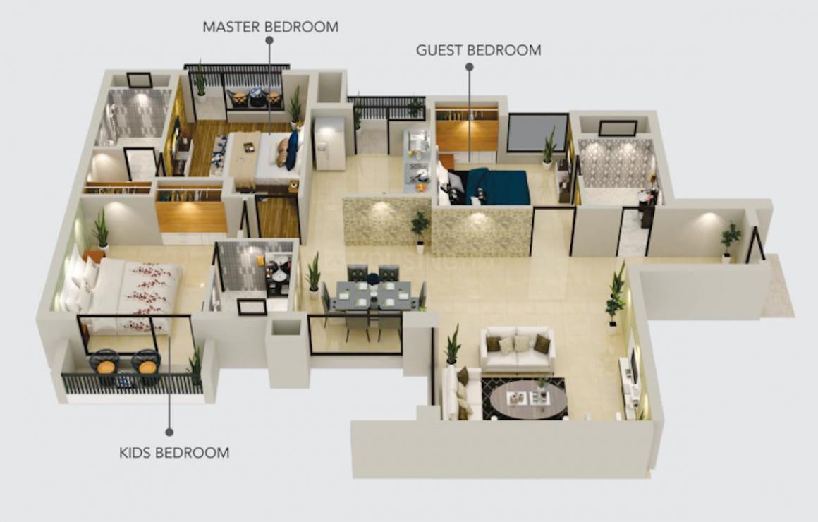Opera Garden Floor Plan: 3 BHK Unit with Built up area of 1950 sq.ft 1