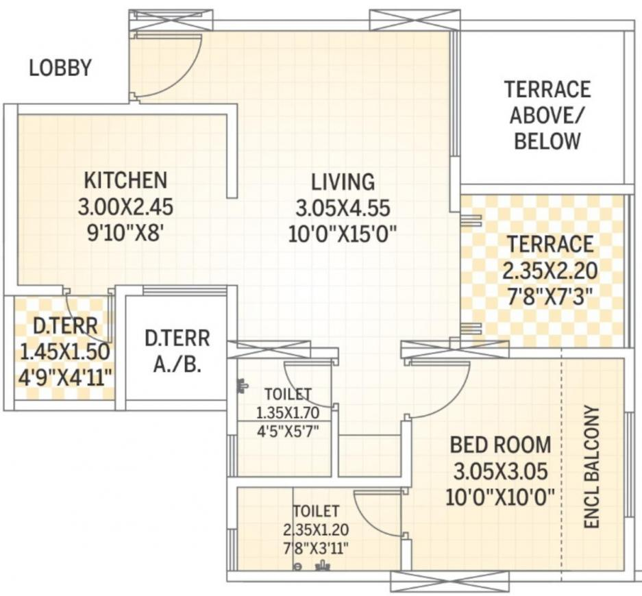 Allure Floor Plan: 1 BHK Unit with Built up area of 514 sq.ft 1