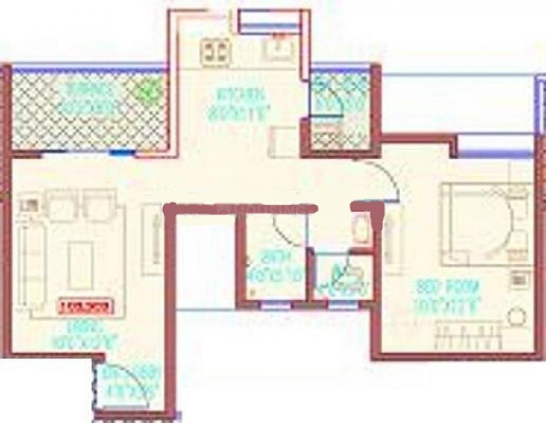 Lotus Grace Floor Plan: 1 BHK Unit with Built up area of 662 sq.ft 1