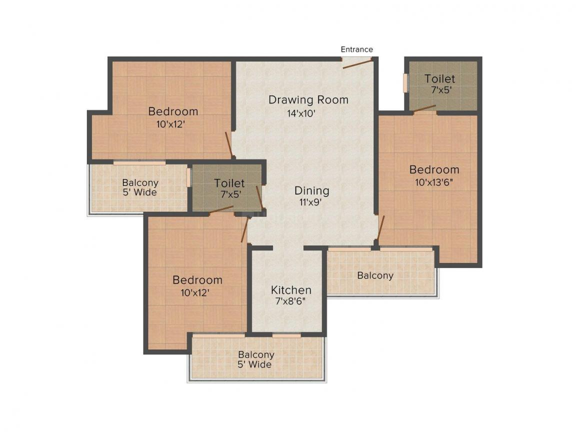 Floor Plan Image of 0 - 1290.0 Sq.ft 3 BHK Independent Floor for buy in United Floors 3