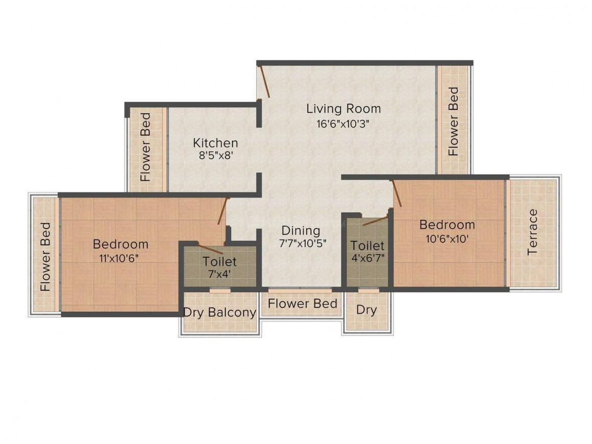 Floor Plan Image of 597.0 - 1500.0 Sq.ft 2 BHK Apartment for buy in Scarlet Ira Pearl