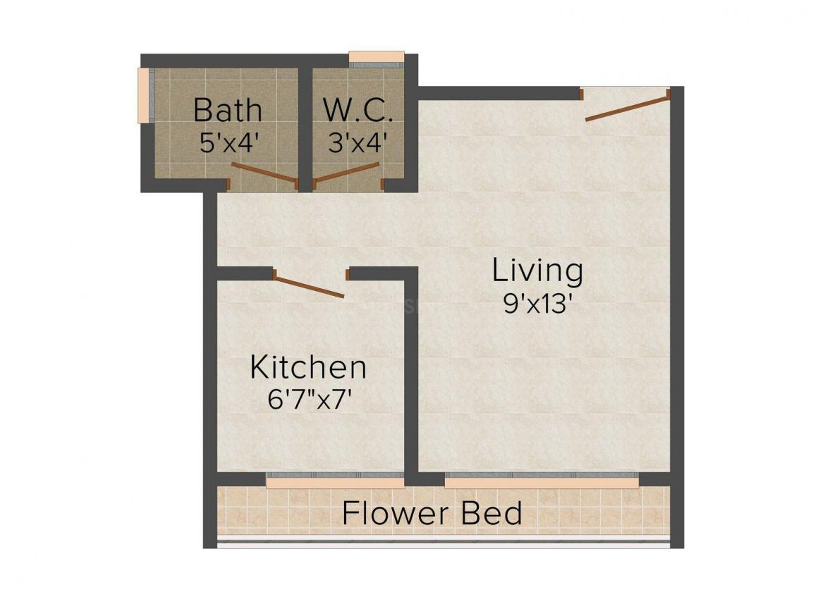 Floor Plan Image of 530 - 695 Sq.ft 1 RK Apartment for buy in Om Aashray