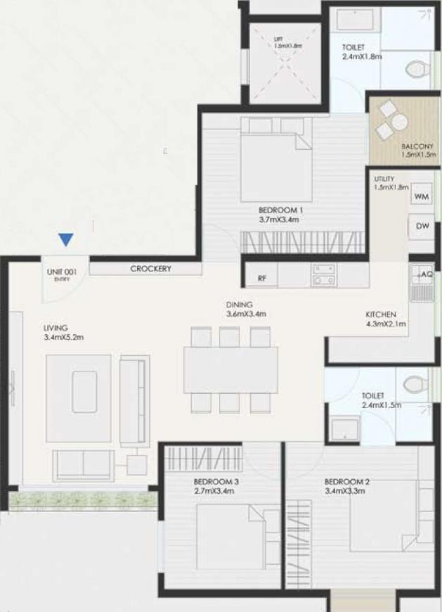 Evantha Visthaara Floor Plan: 3 BHK Unit with Built up area of 1310 sq.ft 1