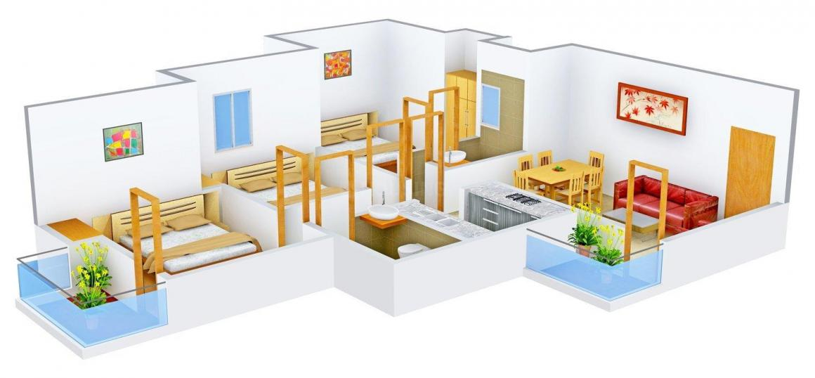 Floor Plan Image of 1200 - 1850 Sq.ft 3 BHK Apartment for buy in Supertech Eco Village III