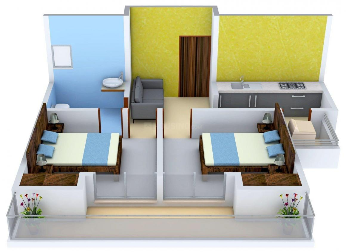 Migsun Ultimo Floor Plan: 2 BHK Unit with Built up area of 695 sq.ft 1
