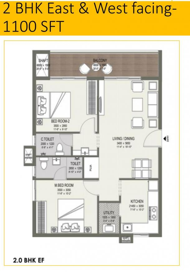 EVK Elite Floor Plan: 2 BHK Unit with Built up area of 1100 sq.ft 1