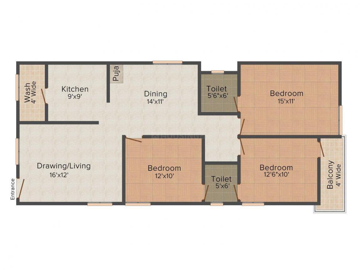 Floor Plan Image of 1050.0 - 1550.0 Sq.ft 2 BHK Apartment for buy in Sri Vinayaka Balla's Splendour Park