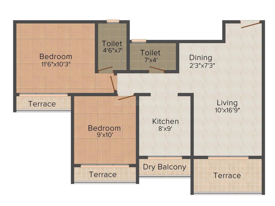 Floor Plan Image of 0 - 1125 Sq.ft 2 BHK Apartment for buy in Gurudev Heights