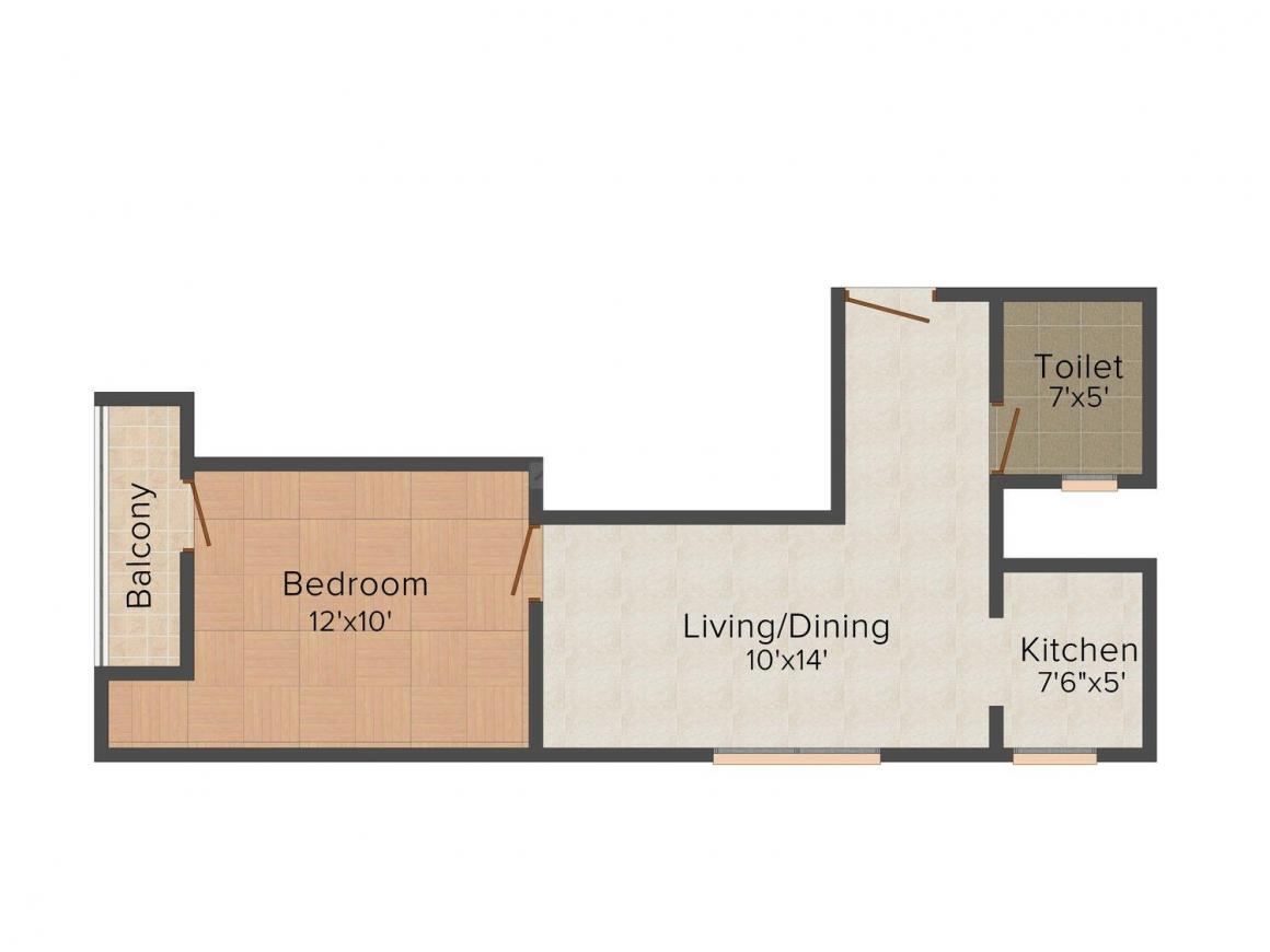 Saj Apartment Floor Plan: 1 BHK Unit with Built up area of 413 sq.ft 1