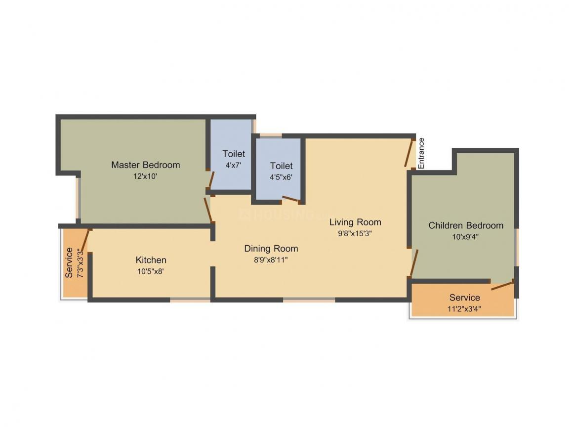 Floor Plan Image of 816 - 931 Sq.ft 2 BHK Apartment for buy in GP Orange Blossom