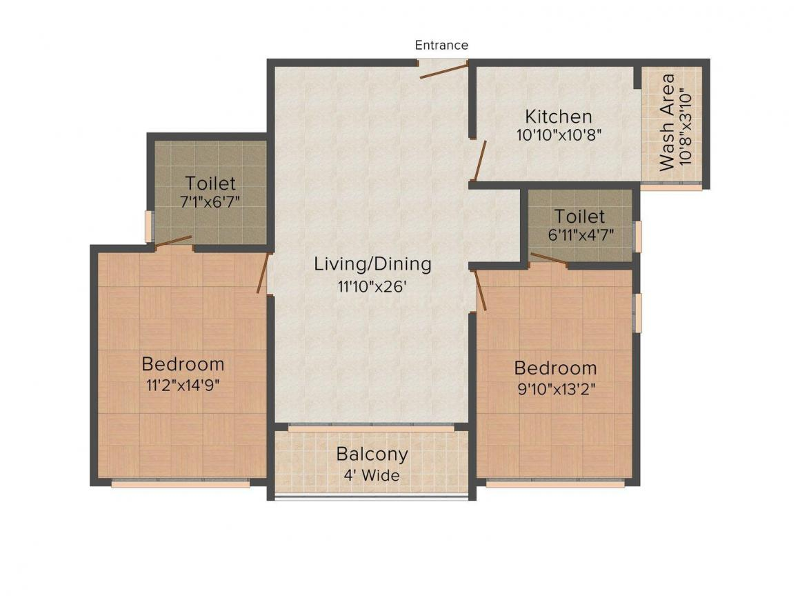 Floor Plan Image of 1201.0 - 1849.0 Sq.ft 2 BHK Apartment for buy in Kent Oakville Villas and Apartments
