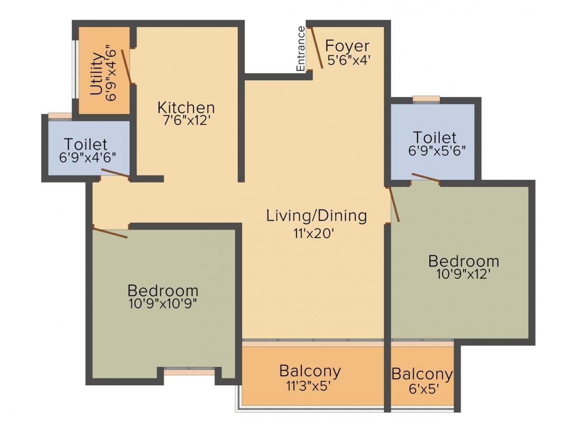 Floor Plan Image of 476 - 2056 Sq.ft Studio Studio Apartment for buy in Dasta Concerto