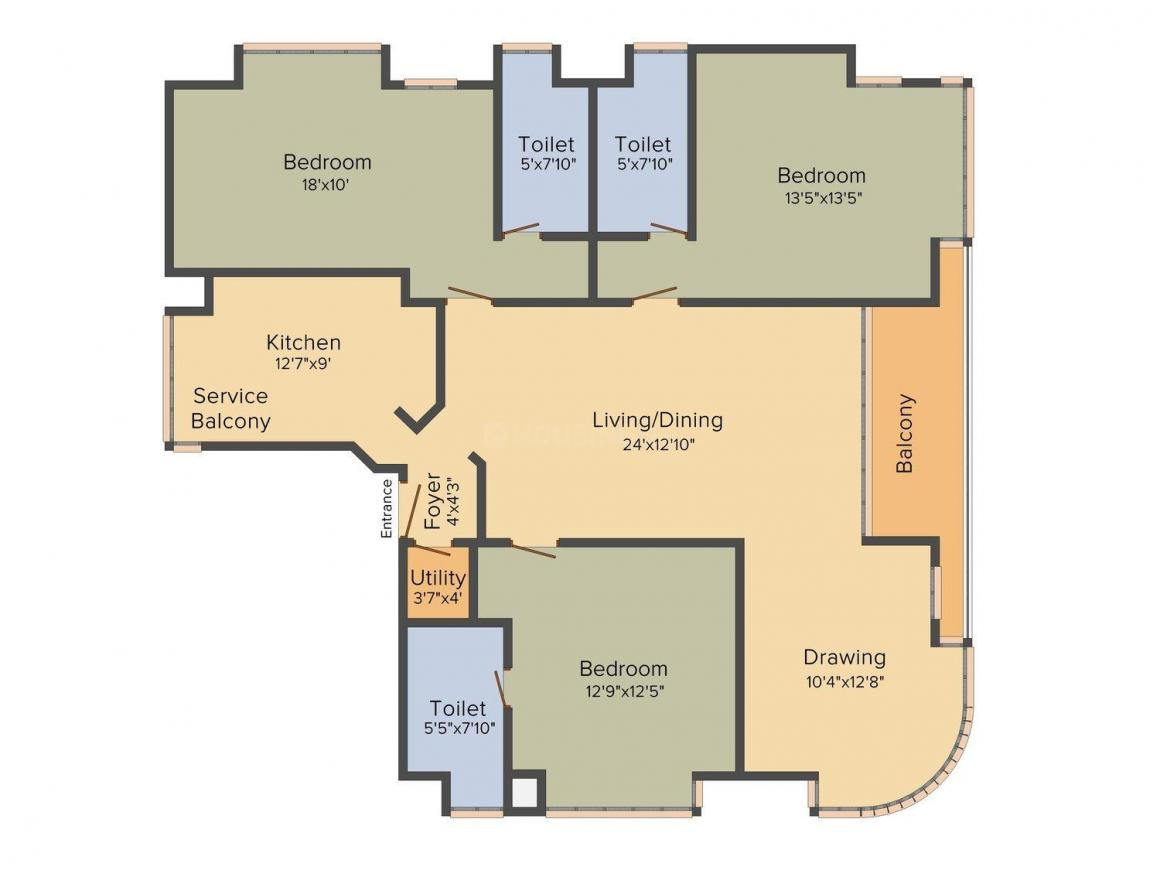 Floor Plan Image of 0 - 2600.0 Sq.ft 3 BHK Apartment for buy in Orbit Bliss