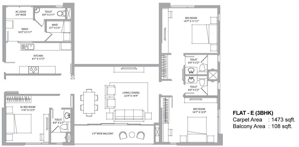Aurus Floor Plan: 3 BHK Unit with Built up area of 1473 sq.ft 1