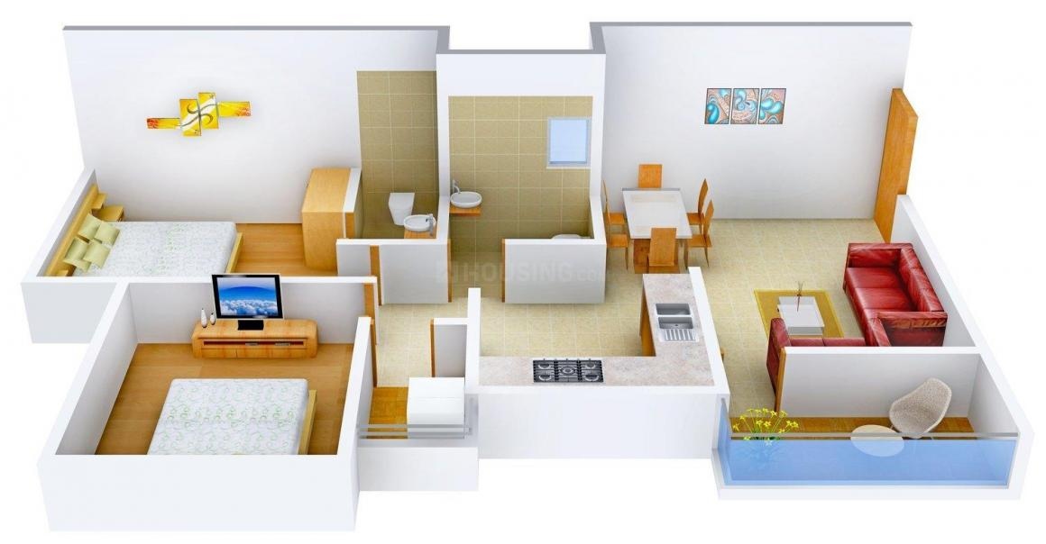 Floor Plan Image of 0 - 726.0 Sq.ft 2 BHK Apartment for buy in Gajra Megh