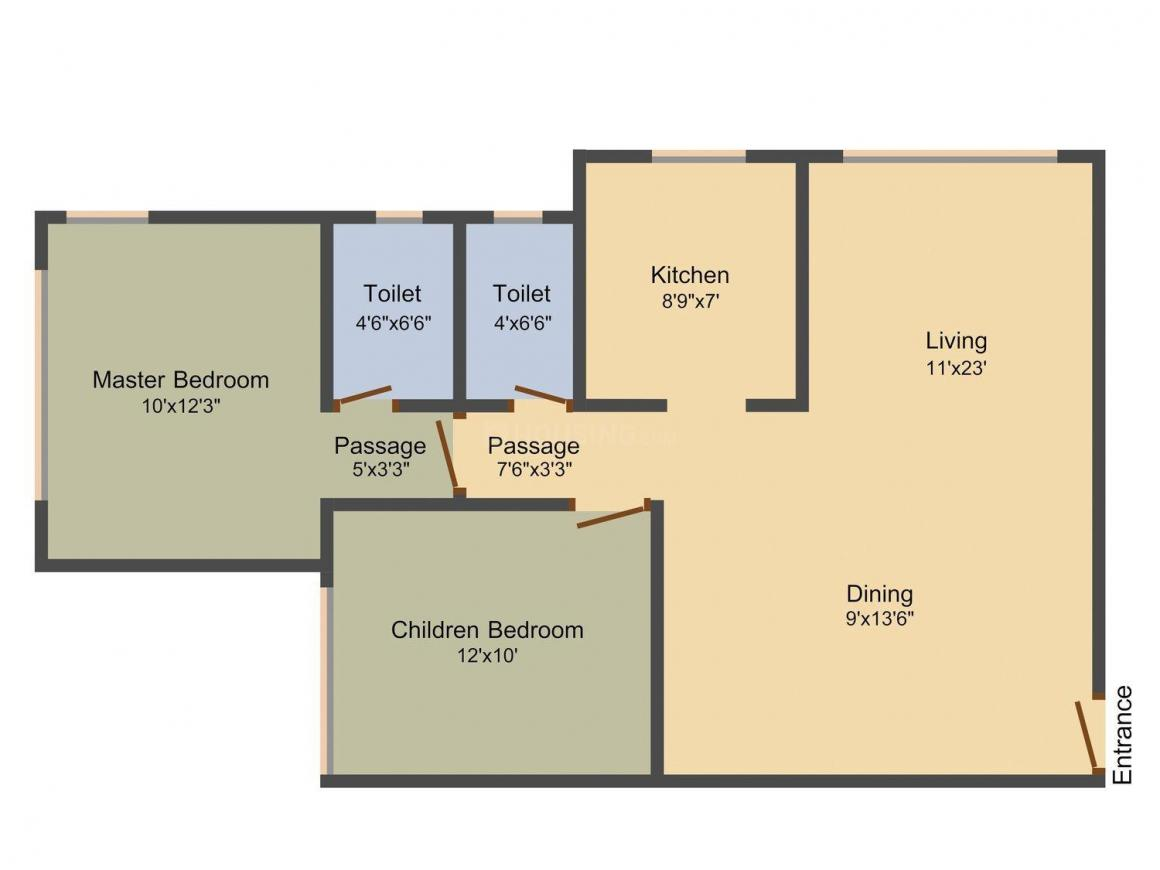 Floor Plan Image of 693.0 - 735.0 Sq.ft 2 BHK Apartment for buy in Agarwal Vastu Tower