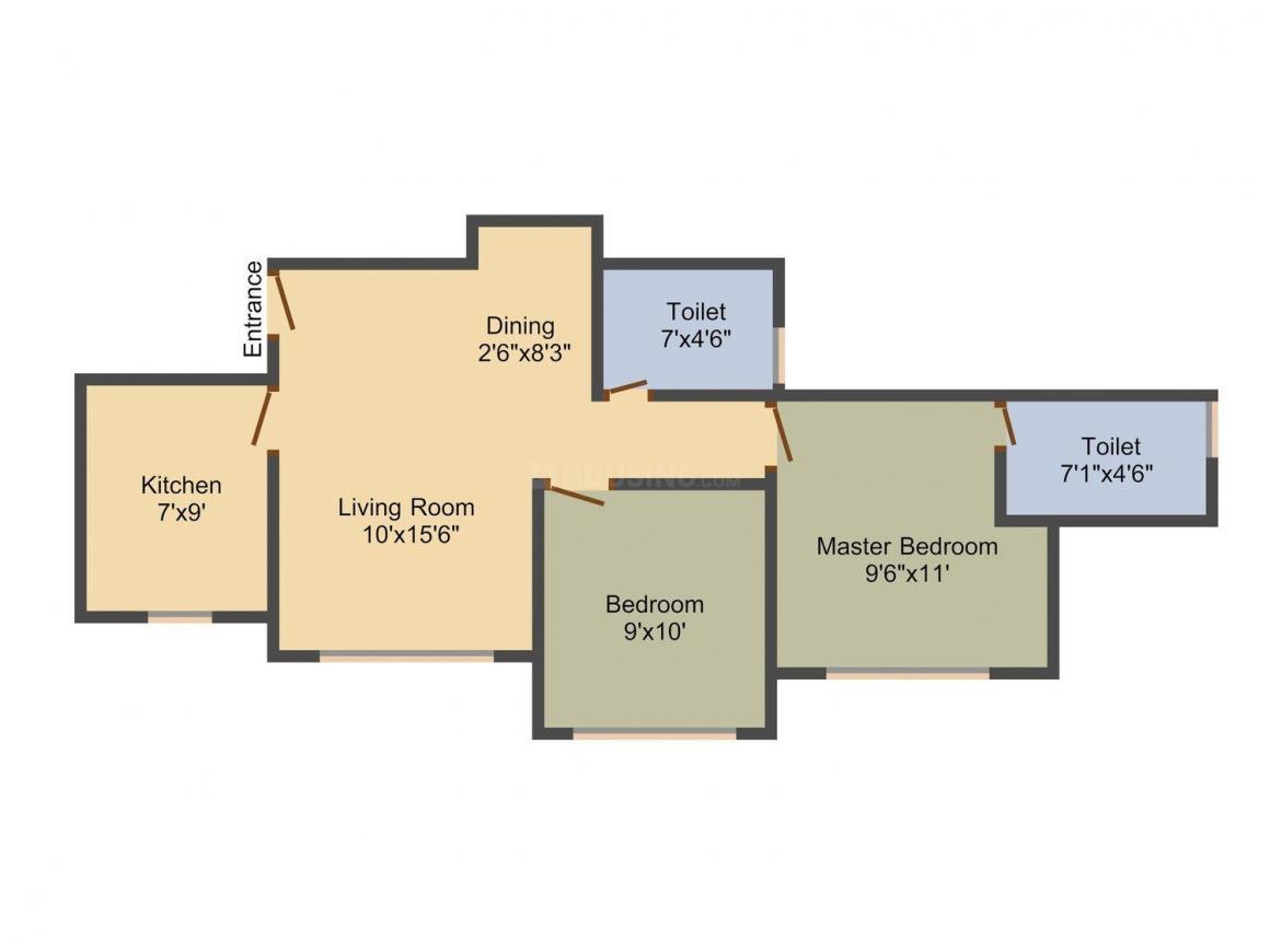 Hiranandani Obelia B Floor Plan: 2 BHK Unit with Built up area of 503 sq.ft 1