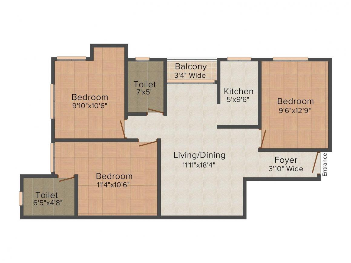 Floor Plan Image of 1250 - 1700 Sq.ft 3 BHK Apartment for buy in Ardeevin