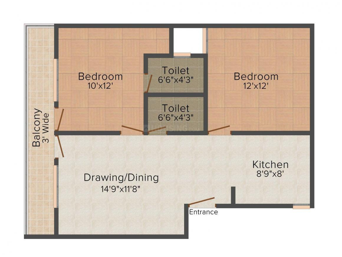Laxmi Homes - 400 Floor Plan: 2 BHK Unit with Built up area of 750 sq.ft 1