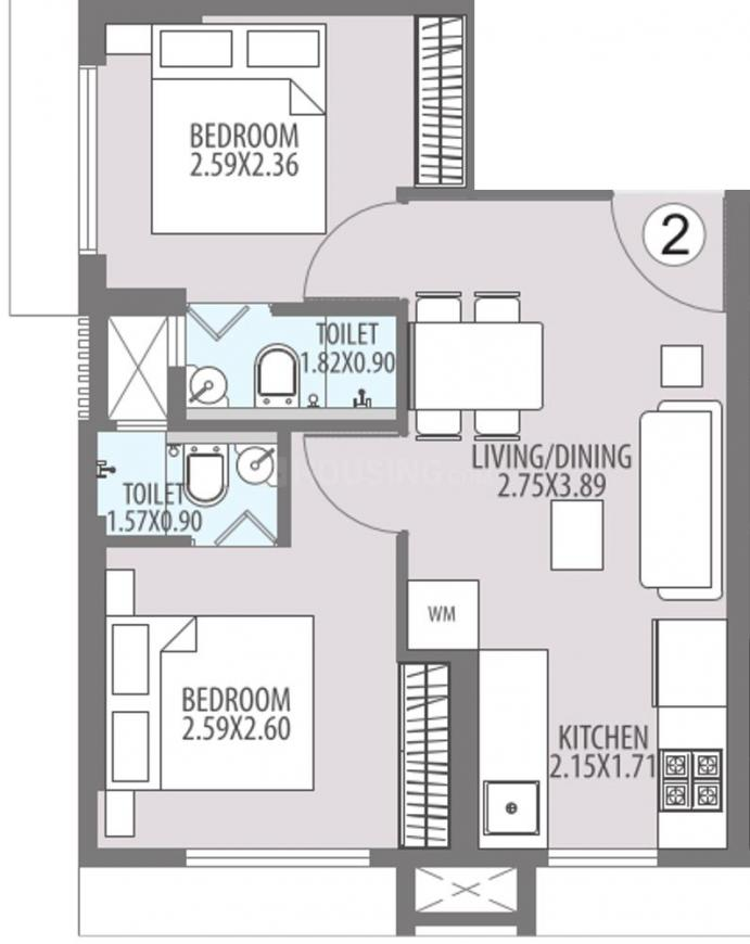 Hubtown Harmony A Wing Floor Plan: 2 BHK Unit with Built up area of 375 sq.ft 1