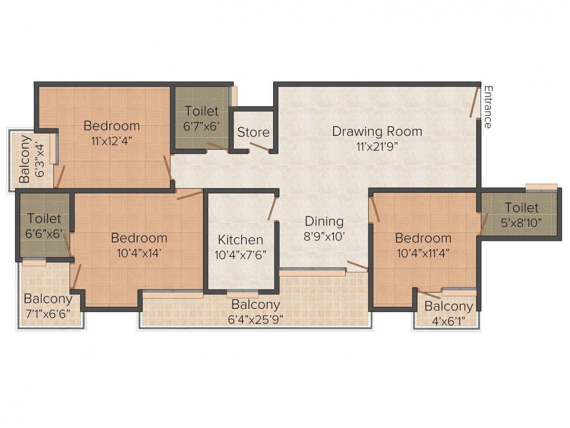 Floor Plan Image of 1755.0 - 1827.0 Sq.ft 3 BHK Apartment for buy in Unique Luxuria