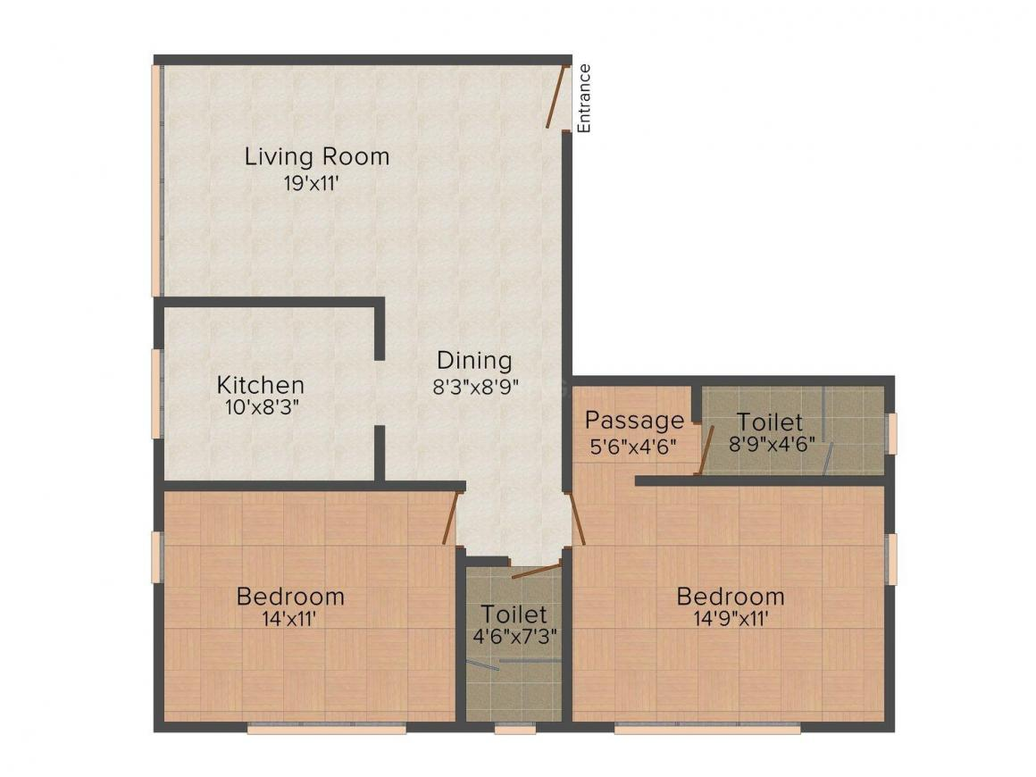 Floor Plan Image of 0 - 740 Sq.ft 2 BHK Apartment for buy in Ajmera Manor