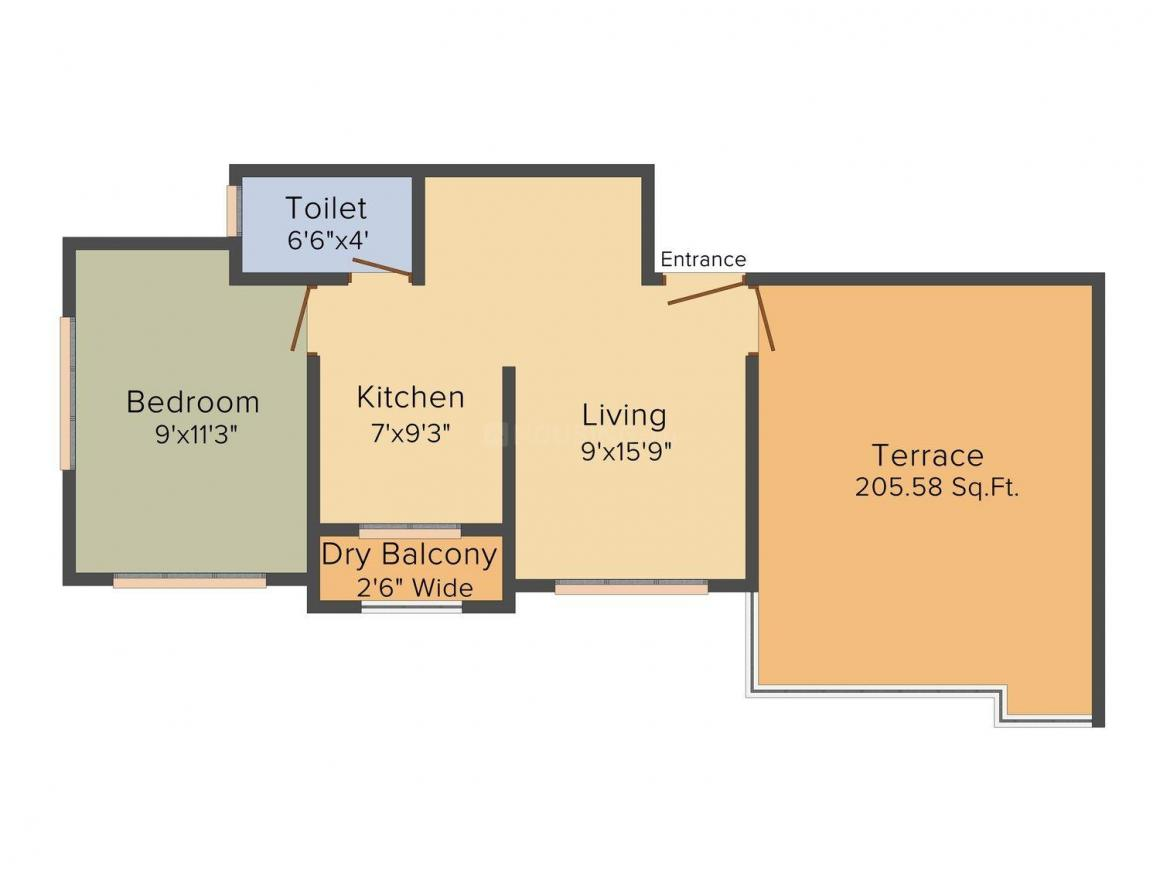 Floor Plan Image of 0 - 540.0 Sq.ft 1 BHK Apartment for buy in Fia Leela