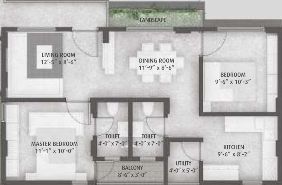 Ayati Lake View Block B Floor Plan: 2 BHK Unit with Built up area of 927 sq.ft 1