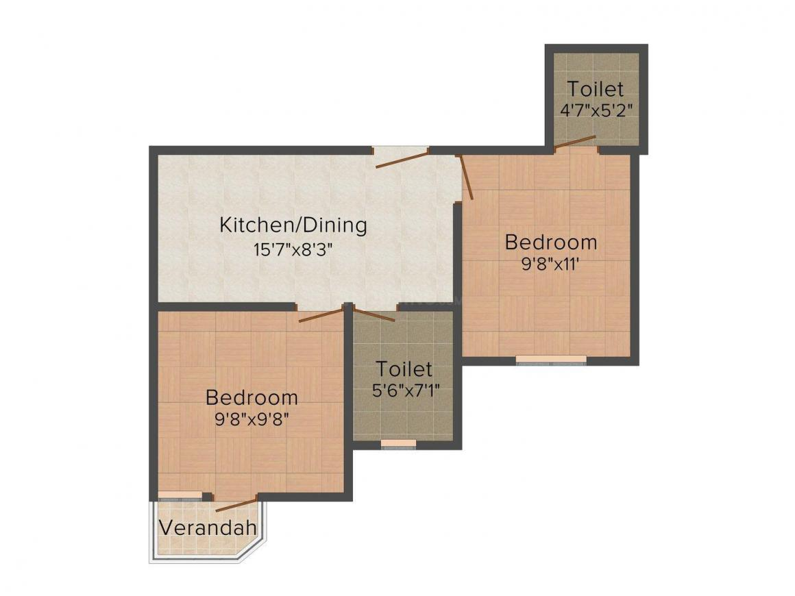 Floor Plan Image of 780 - 1176 Sq.ft 2 BHK Apartment for buy in RS Garden