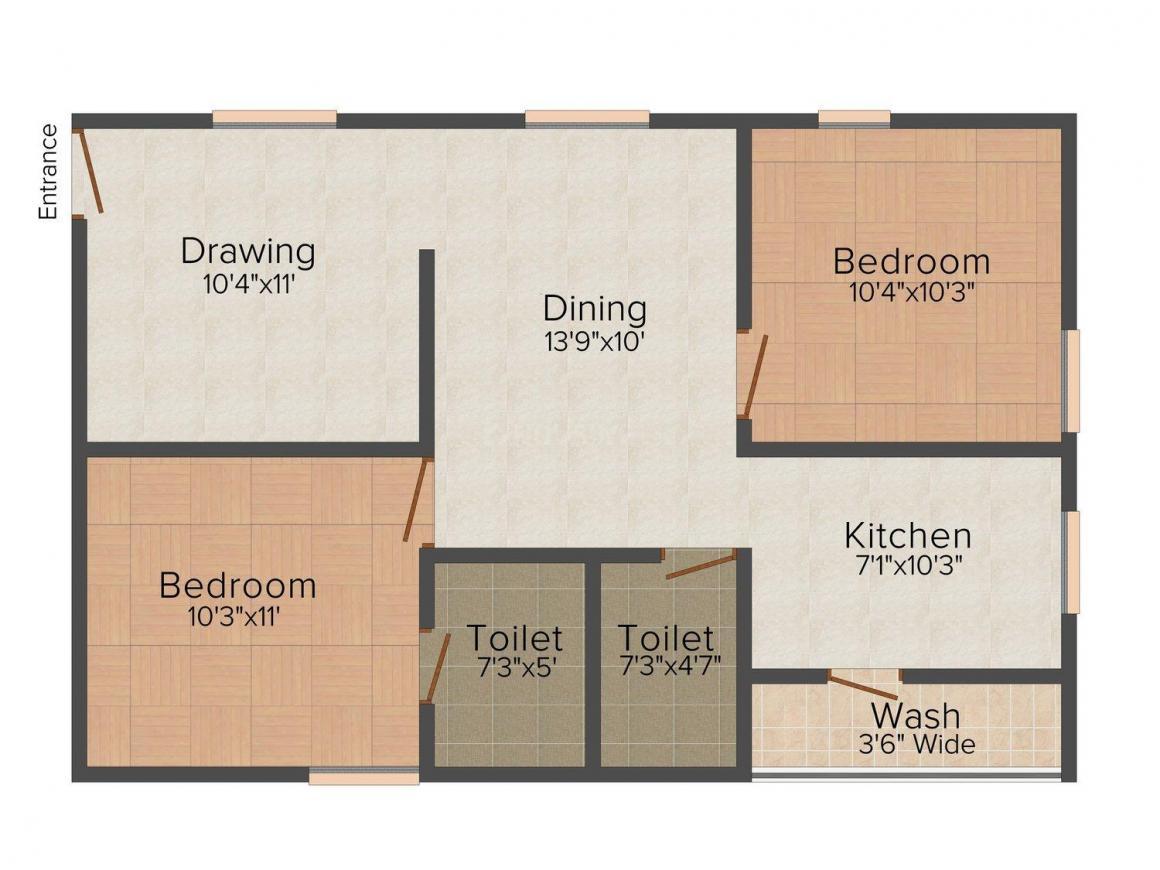 Floor Plan Image of 0 - 945 Sq.ft 2 BHK Apartment for buy in Sukriti Nivas