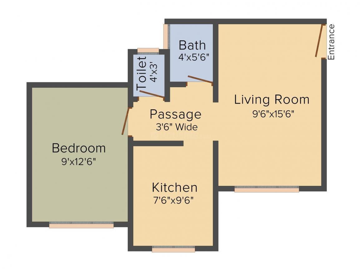 Floor Plan Image of 705.0 - 985.0 Sq.ft 1 BHK Apartment for buy in Vinayak Kondilkar