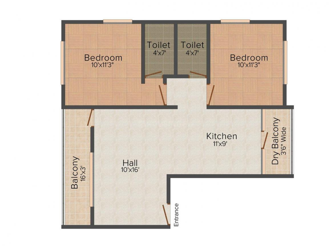 Floor Plan Image of 0 - 870.0 Sq.ft 2 BHK Apartment for buy in Subodh Nishigandha Apartment
