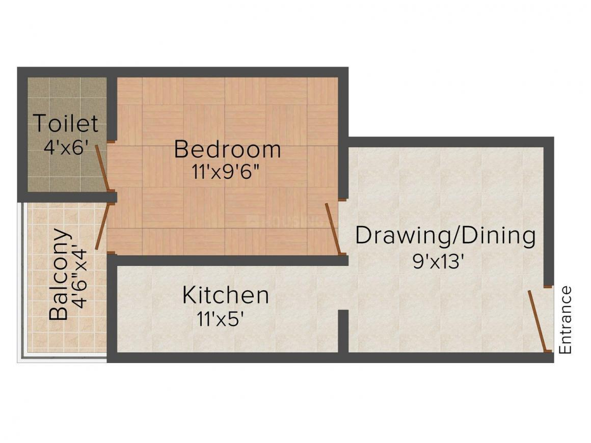 Paridhi Homes - 1 Floor Plan: 1 BHK Unit with Built up area of 535 sq.ft 1