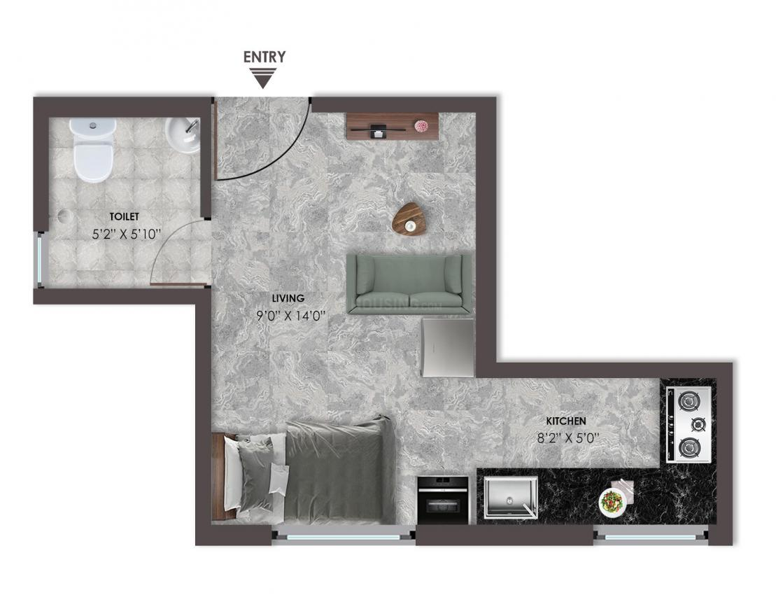 VRX 360 Floor Plan: 1 BHK Unit with Built up area of 300 sq.ft 1