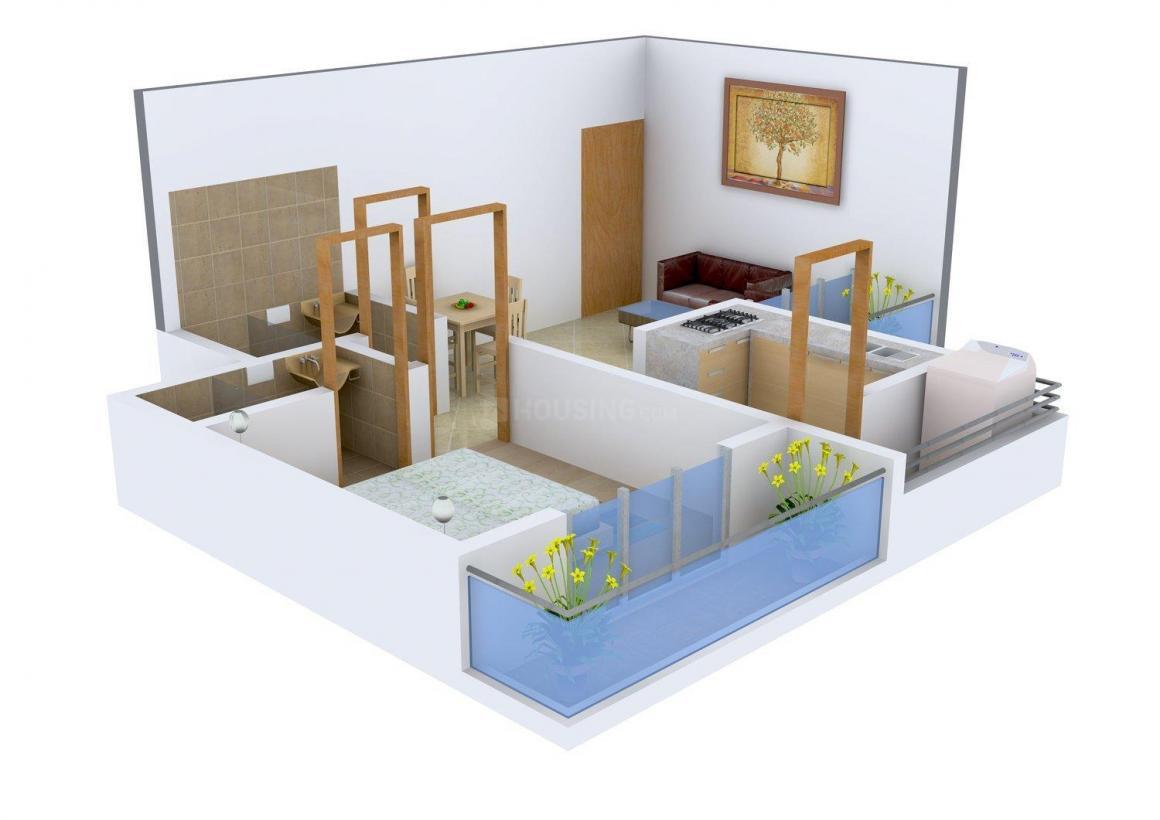 Floor Plan Image of 650.0 - 830.0 Sq.ft 1 BHK Apartment for buy in Raj Samruddhi