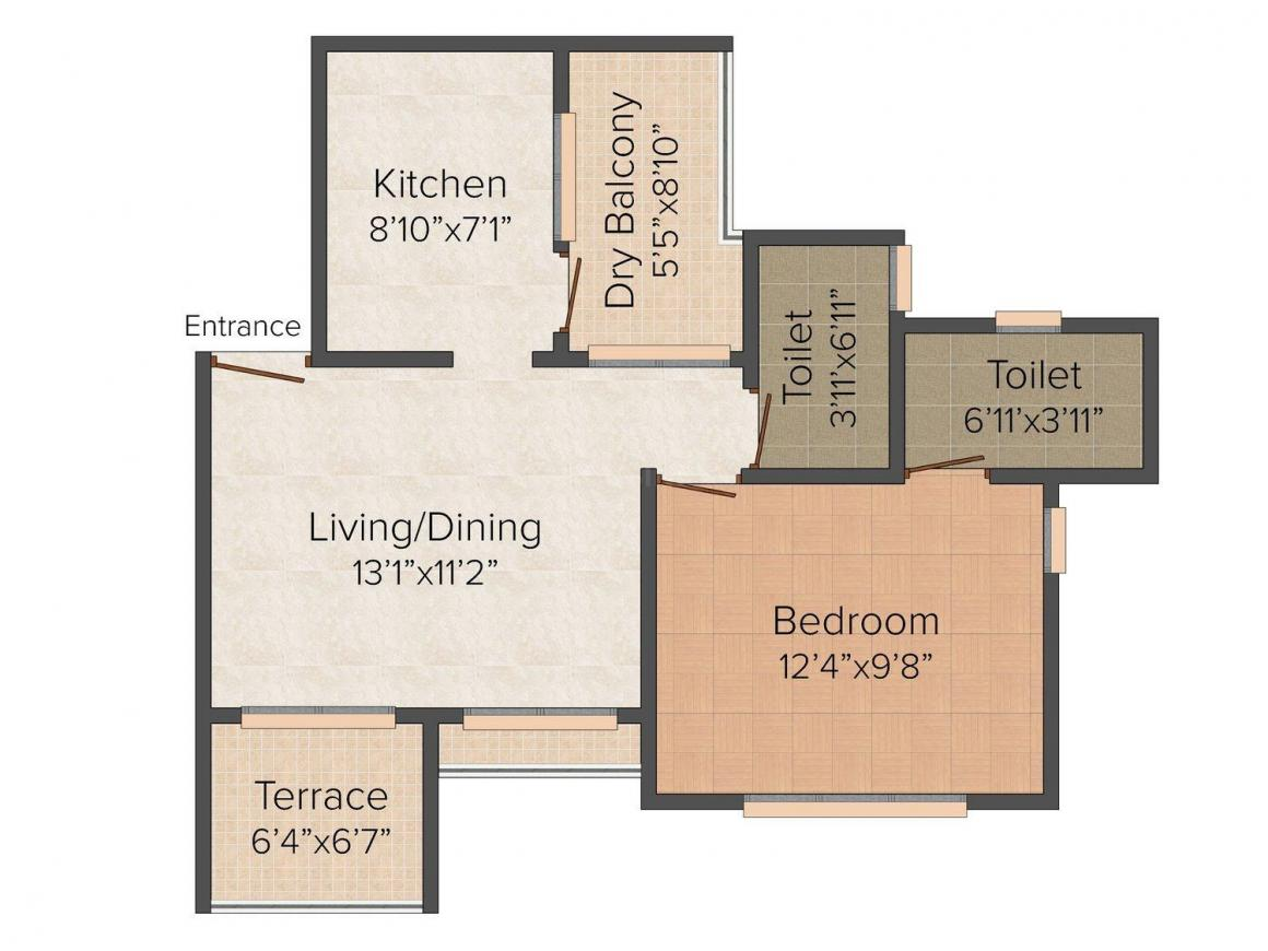 Floor Plan Image of 402.0 - 575.0 Sq.ft 1 BHK Apartment for buy in Sun Residency