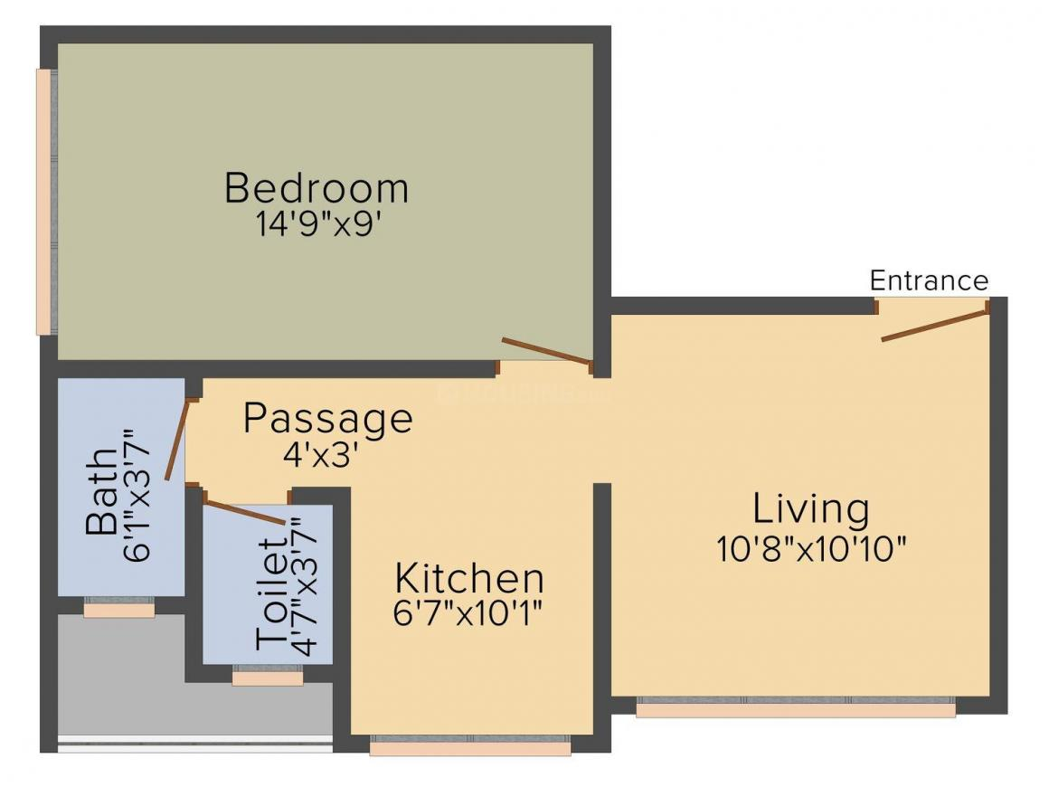Floor Plan Image of 0 - 600 Sq.ft 1 BHK Apartment for buy in Vaibhavlaxmi Sapphire