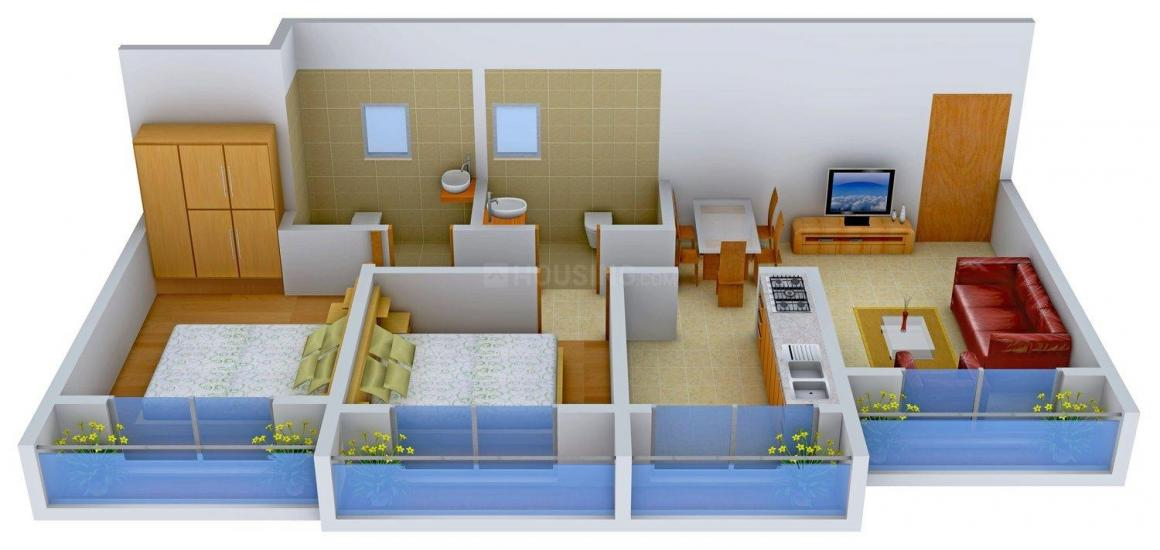 Vinay Unique Group Heights Floor Plan: 2 BHK Unit with Built up area of 530 sq.ft 1