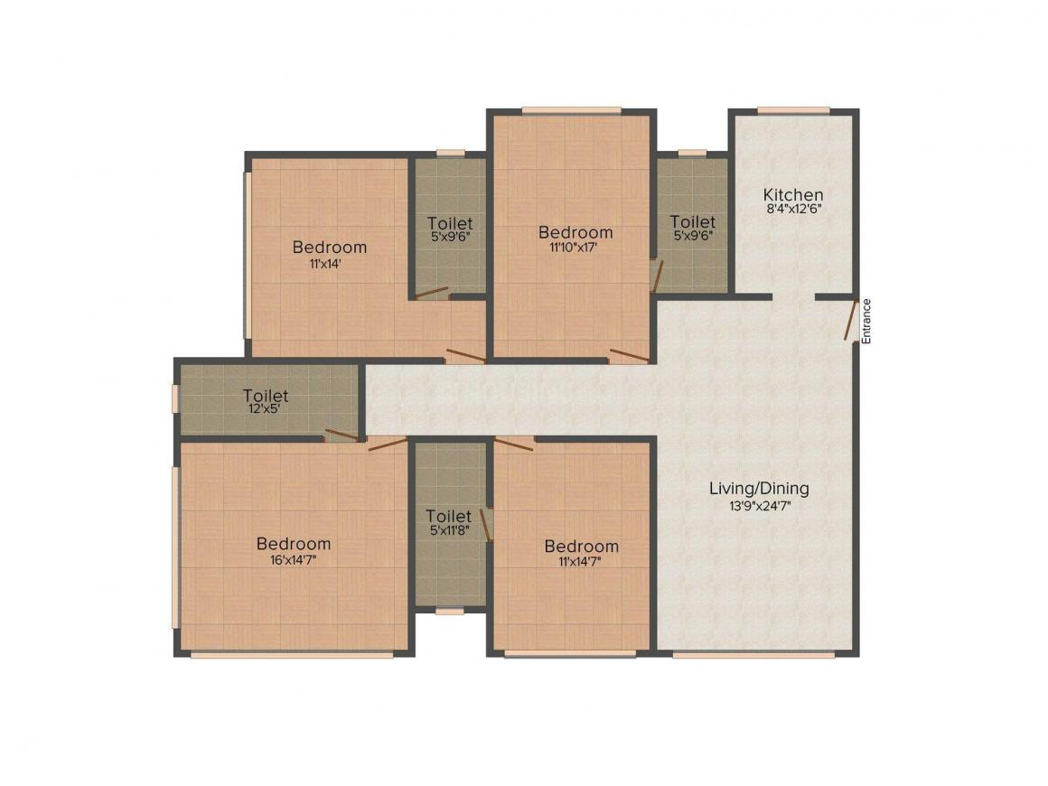 Floor Plan Image of 2340.0 - 3000.0 Sq.ft 4 BHK Apartment for buy in Express Enclave