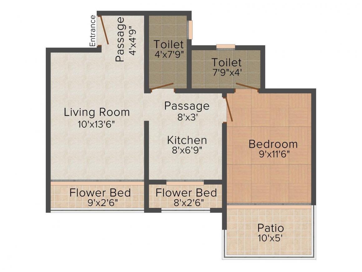 Vastu Sankalp Patkar Residency Floor Plan: 1 BHK Unit with Built up area of 655 sq.ft 1
