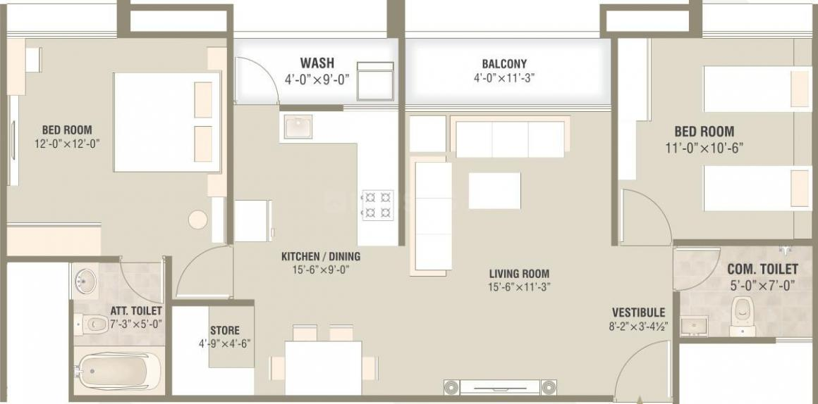 Parishram The Vivanta Floor Plan: 2 BHK Unit with Built up area of 733 sq.ft 1