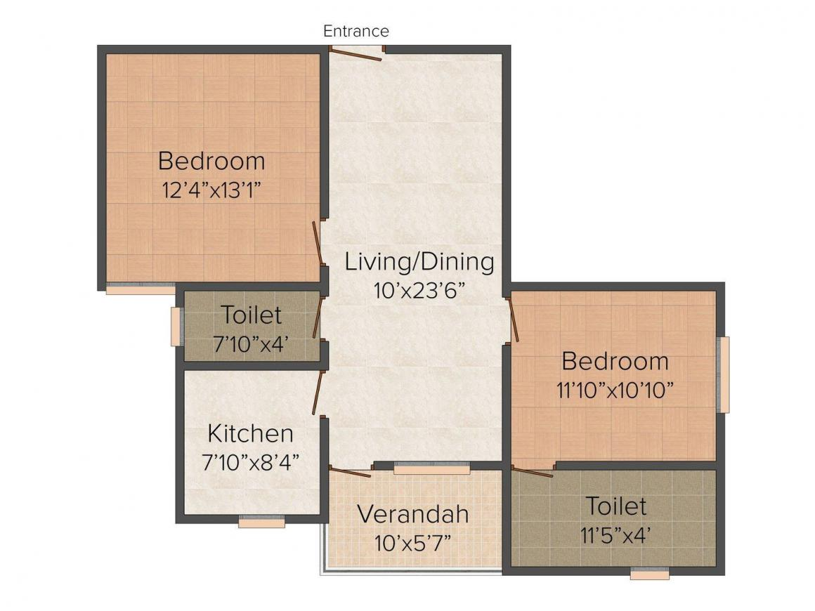 Floor Plan Image of 1085 - 1215 Sq.ft 2 BHK Apartment for buy in Trinayani Shristi Apartment