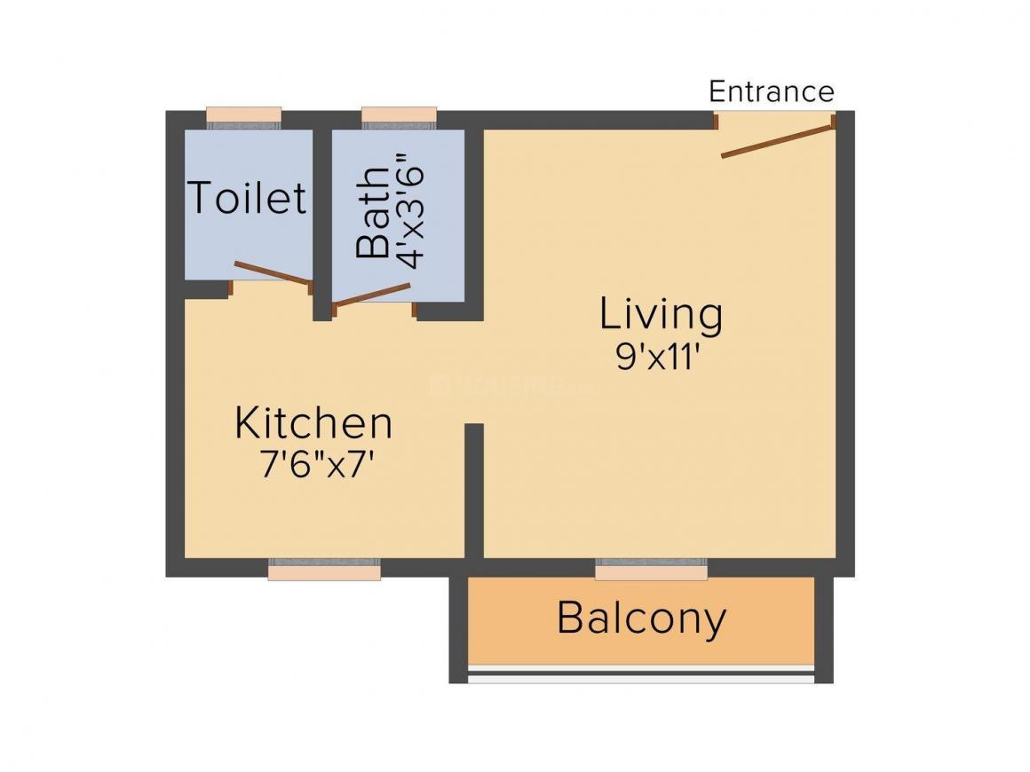 Om Sai Guru Krupa Complex Floor Plan: 1 BHK Unit with Built up area of 330 sq.ft 1