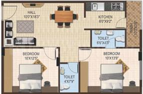 EAPL Sri Tirumala Ambience Floor Plan: 2 BHK Unit with Built up area of 918 sq.ft 1