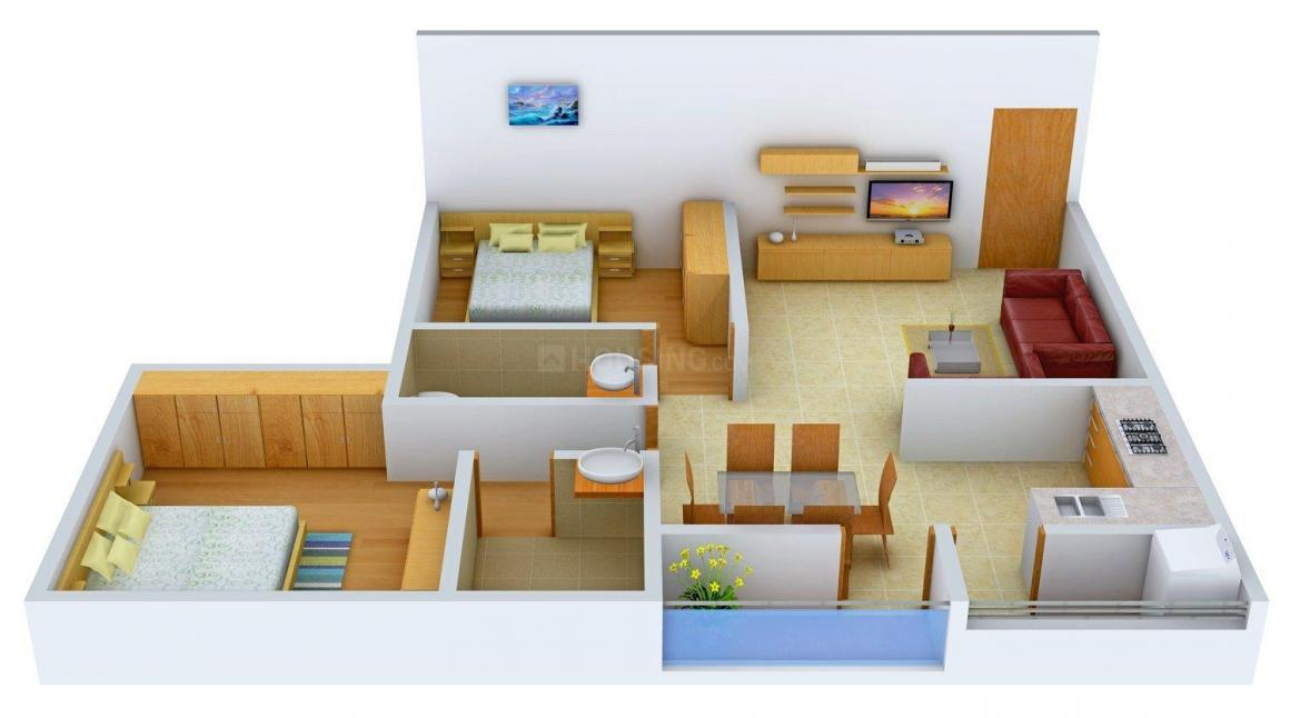 Floor Plan Image of 940 - 1415 Sq.ft 2 BHK Apartment for buy in Radiant Jasmine Terrace